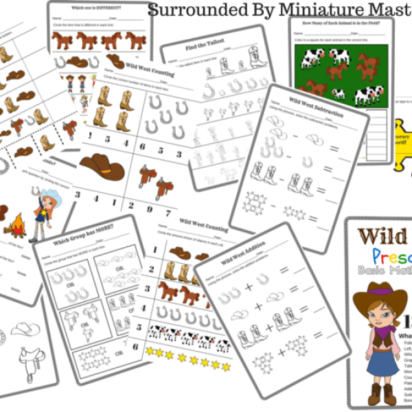 Wild West Preschool Basic Math Concepts Free 13 Page Printable Pack