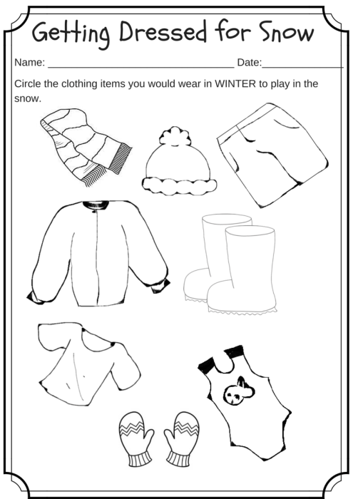 Winter Weather Wear Preschool Worksheet