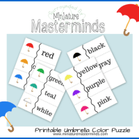 Free Umbrella Printable Color Matching Puzzle
