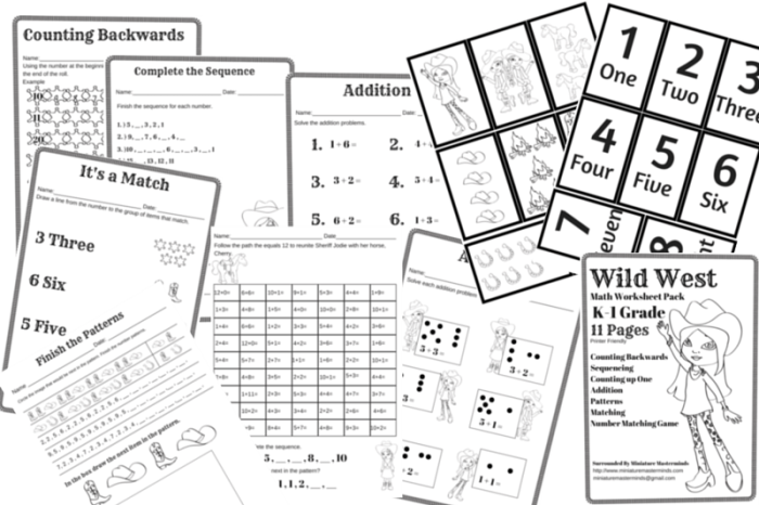 Free Printable Wild West Themed Math Worksheet Pack