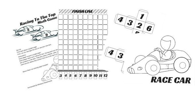 Race to The Top Free Printable Math Addition Game