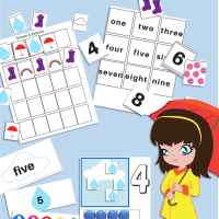 4 Free Printable April Showers Rain Counting Activities for Preschool