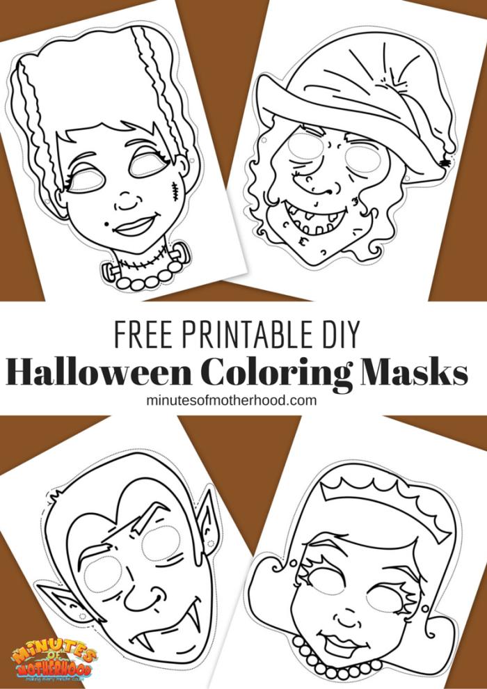 Free Printable DIY Coloring Halloween Masks Set Of Four ...