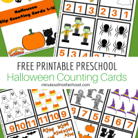 Halloween Preschool Free Printable Clip Counting Cards 1 - 12