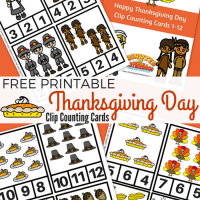 Free Printable Thanksgiving Day Clip Counting Cards 1 -12
