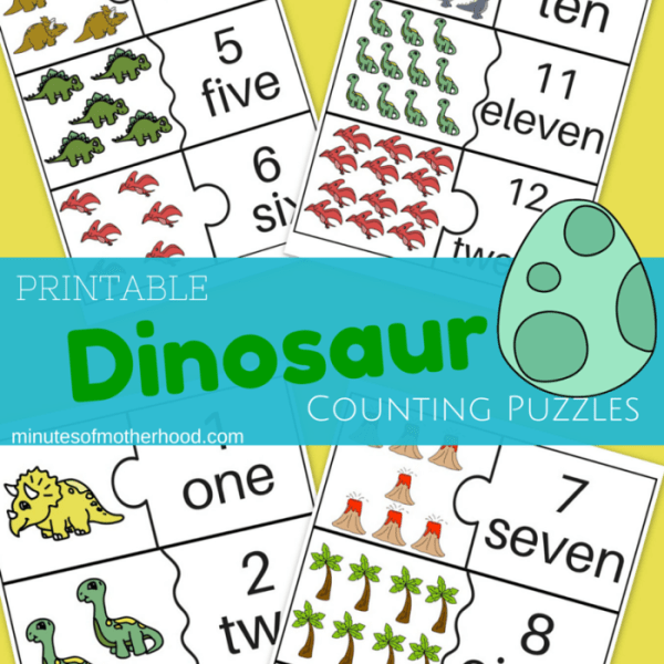 Dinosaur Counting Cards For Preschool 1 - 12