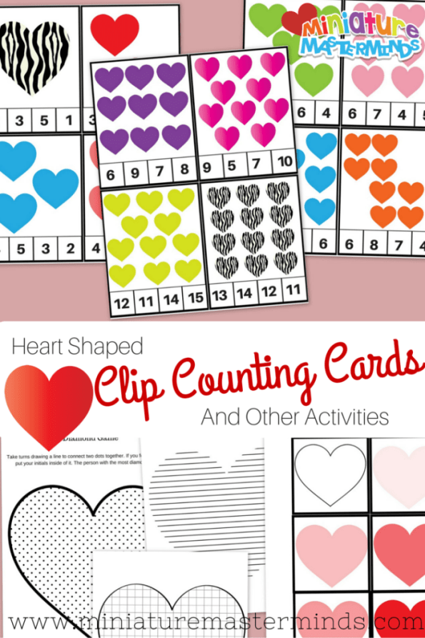 Heart Shaped Clip Counting Cards And Other Activities