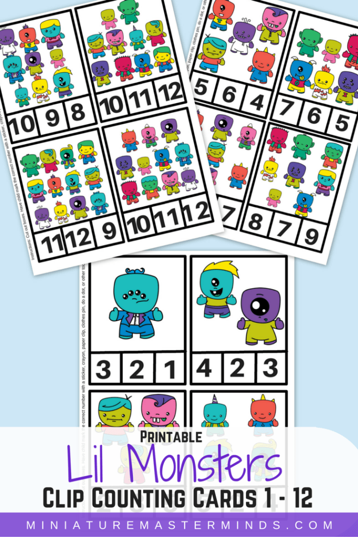 Lil Monster Clip Counting Card 1-12 Printable