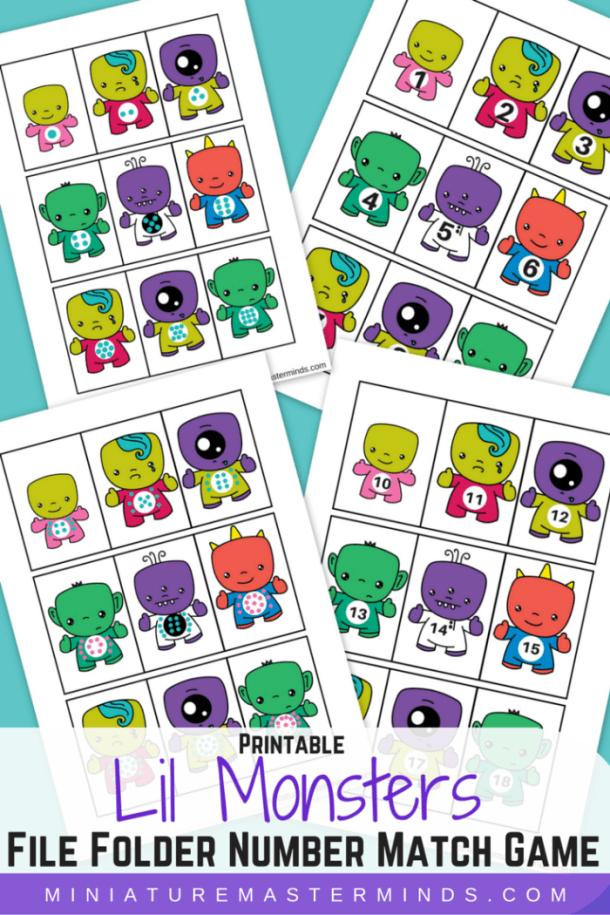 Lil Monster File Folder Number Matching Game