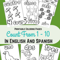 Printable Coloring Pages Counting 1-10 in English and Spanish