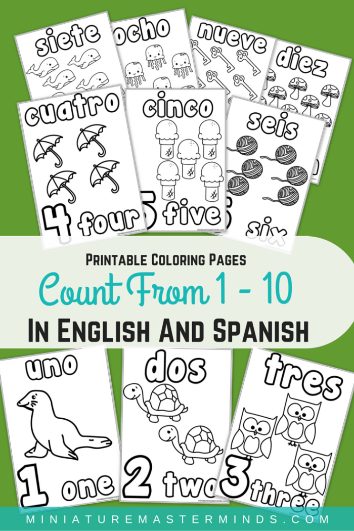 Printable Coloring Pages Counting From 1- 10 in English and Spanish