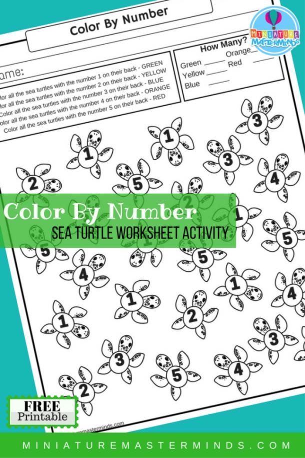 Color By Number Sea Turtle Free Printable Worksheet Activity