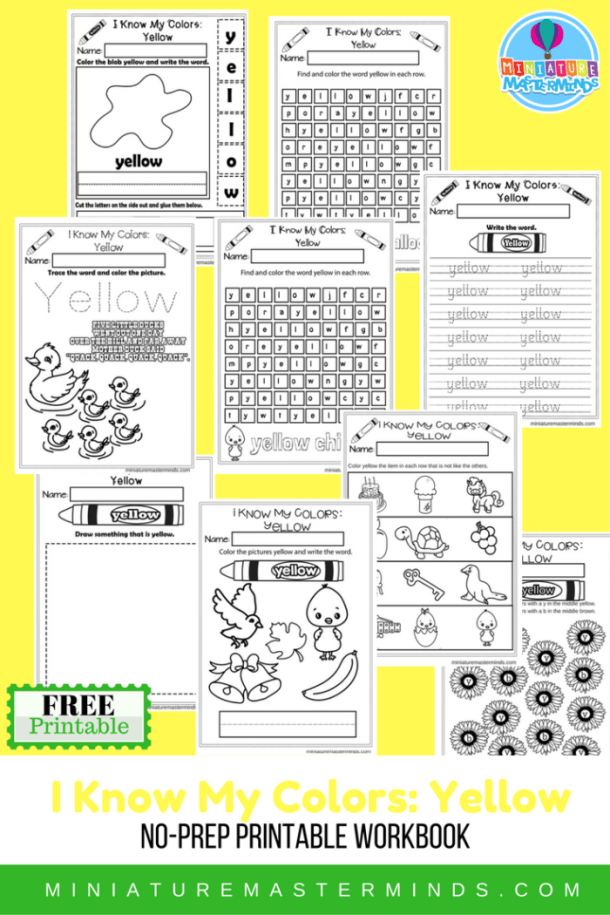 I Know My Colors Series Yellow Free Printable No Prep 9 Page Workbook
