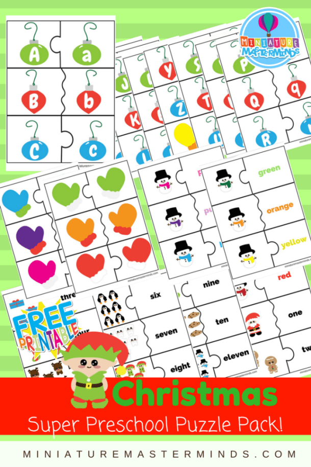 Christmas Themed Super Preschool Puzzle Pack Counting, alphabet, mittens,color sorting