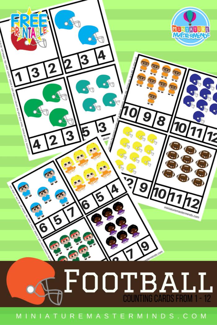 Printable Preschool Football Clip Counting Cards 1-12