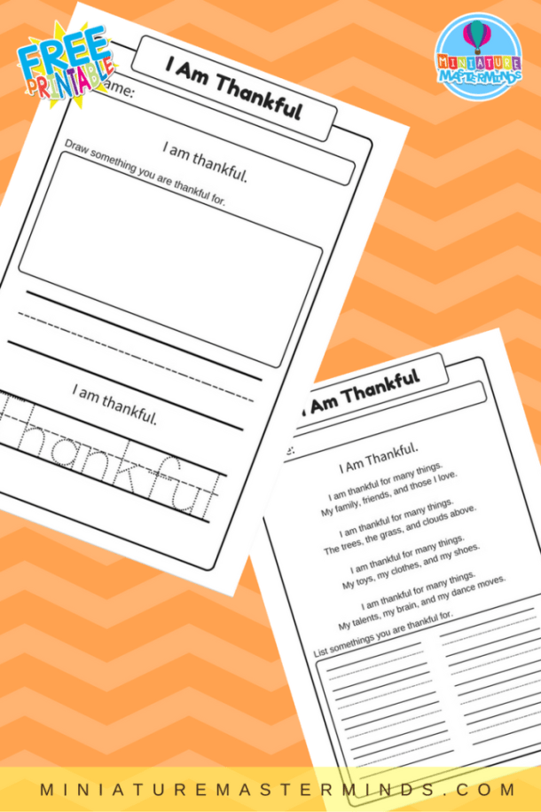 I Am Thankful Free Printable Worsheets