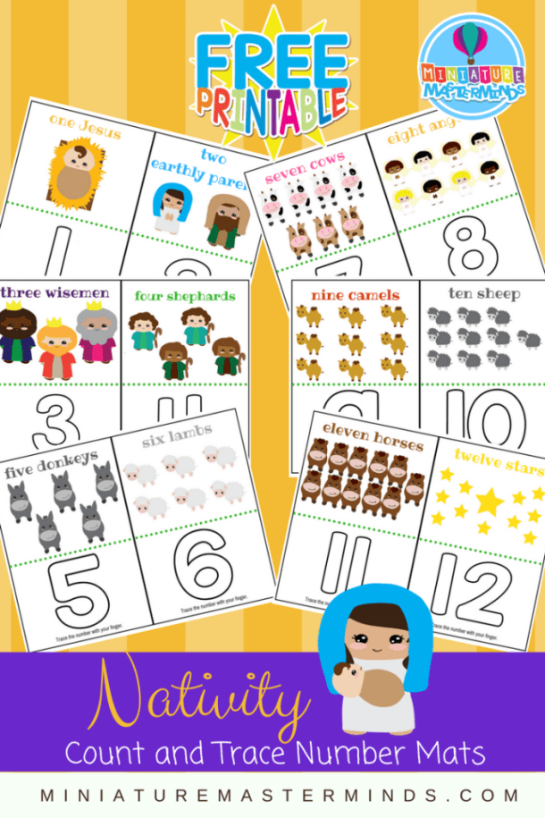 Nativity Preschool and Toddler Count And Trace Number Mats
