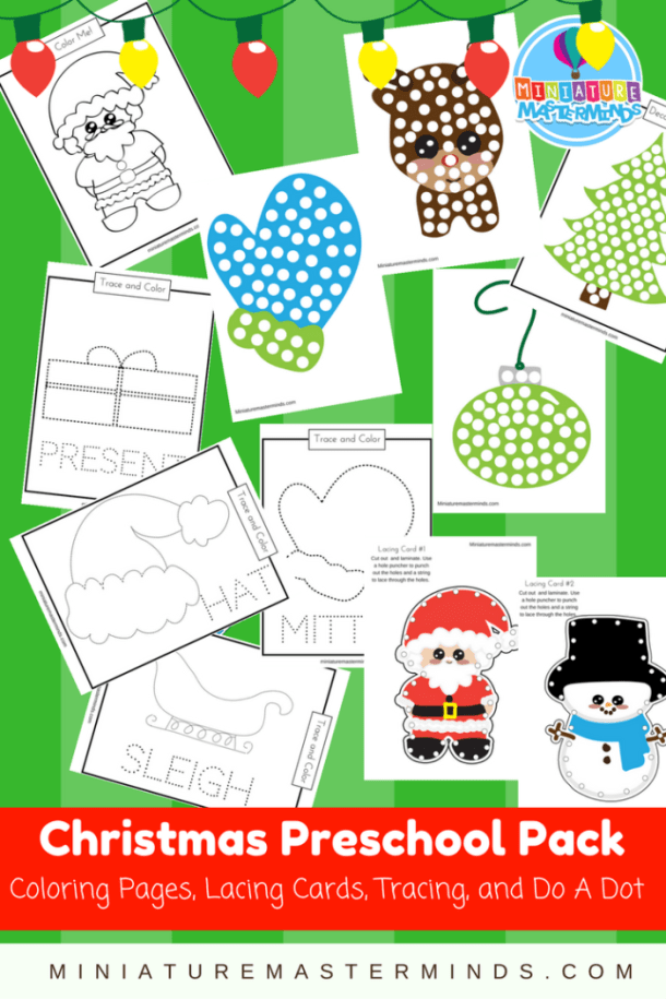 Christmas Coloring Pages, Lacing Cards, Tracing, and Do A Dot Preschool Pack