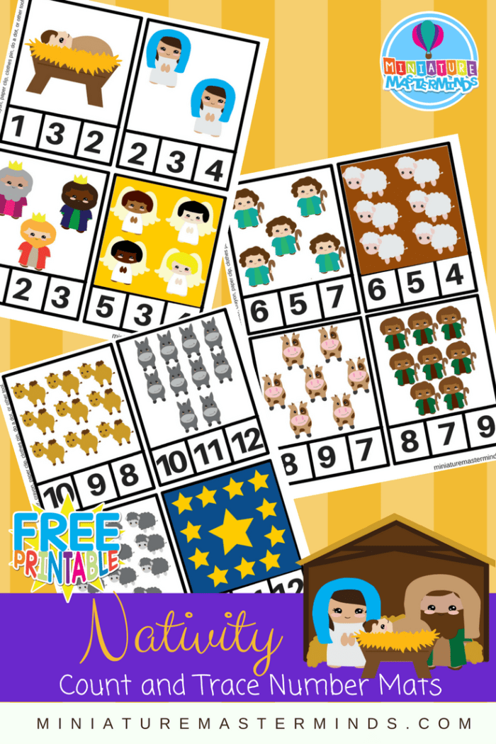 Nativity Preschool Clip Counting Cards 1 to 12