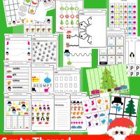 25 Page Santa Clause Preschool And Kindergarten Activity Book