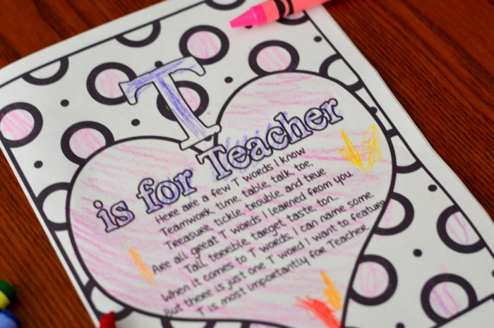 photo relating to Printable Valentine Card for Teacher referred to as T is For Trainer Coloring Site Valentine or Instructors