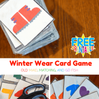 Free Printable Winter Wear Themed Card Game Old Maid, Matching, and Go Fish
