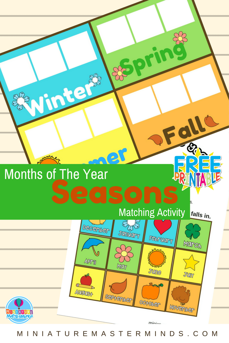Months of The Year Preschool Season Matching Activity ...
