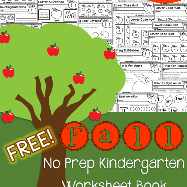 Fall No Prep Kindergarten Free 50 Page Work Book