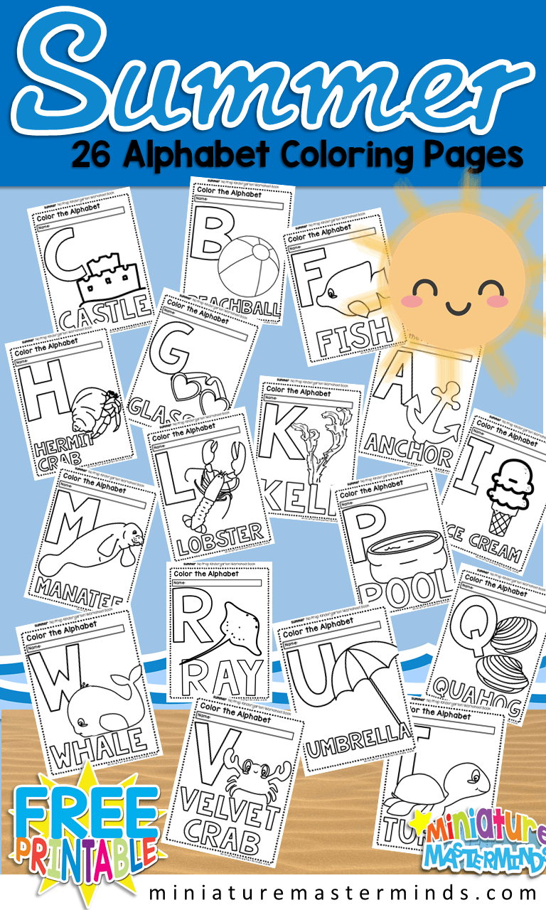 Free Printable Summer 26 Page Alphabet Coloring Book ⋆ Miniature ...