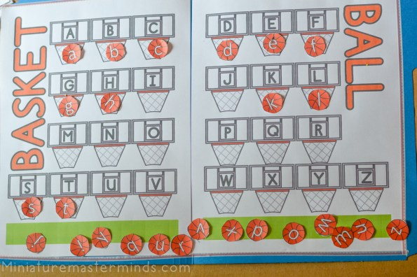 Basket Ball Preschool Counting and Colors Activity with Alphabet Match File Folder Game