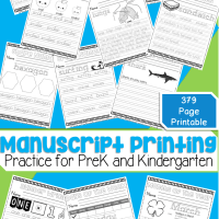 Giant 379 Page No Prep Printable Book For Manuscript Print Practice Writing For Kindergarten and Preschool