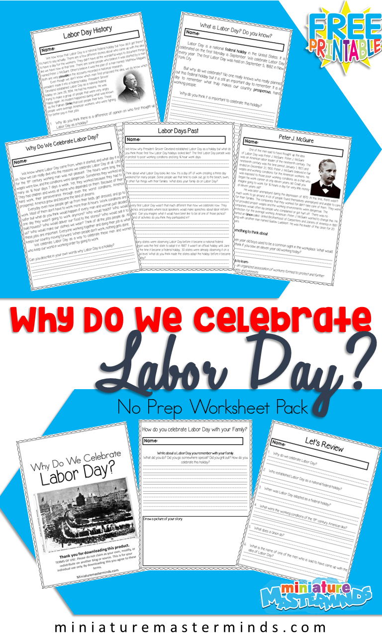 photograph about Labor Day Printable called Why Do We Rejoice Labor Working day? Printable No Prep Worksheet