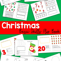 Christmas Flip Book Numbers 1 - 20, Graphing, Shapes, Colors, and Alphabet Practice for Kindergarten, Preschool, and First Grade