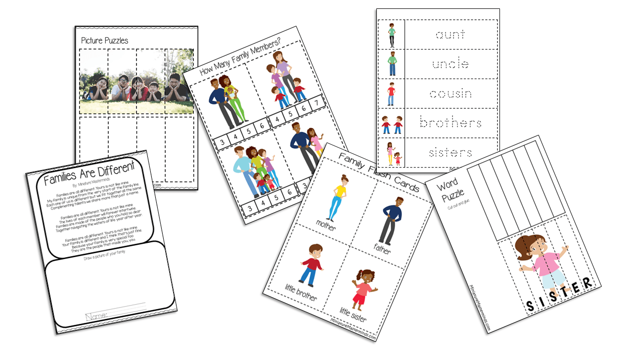 My Family Free Printable Preschool Activity Pack – Miniature Masterminds