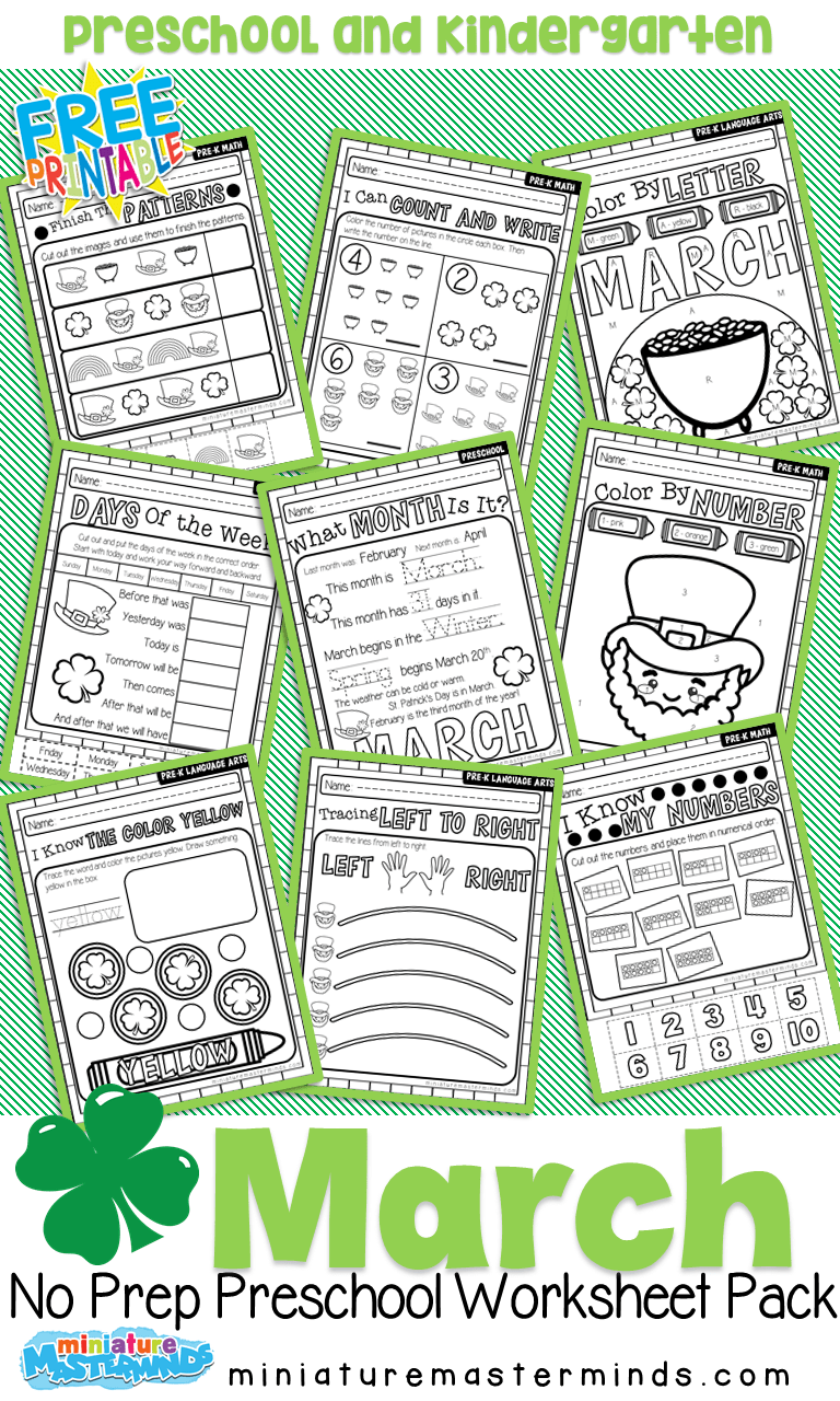 medium resolution of MARCH ST. PATRICK'S DAY PRESCHOOL EDUCATIONAL NO PREP WORK SHEETS BOOK –  Miniature Masterminds