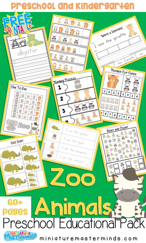 small resolution of Zoo Animals Preschool Educational Pack – Miniature Masterminds