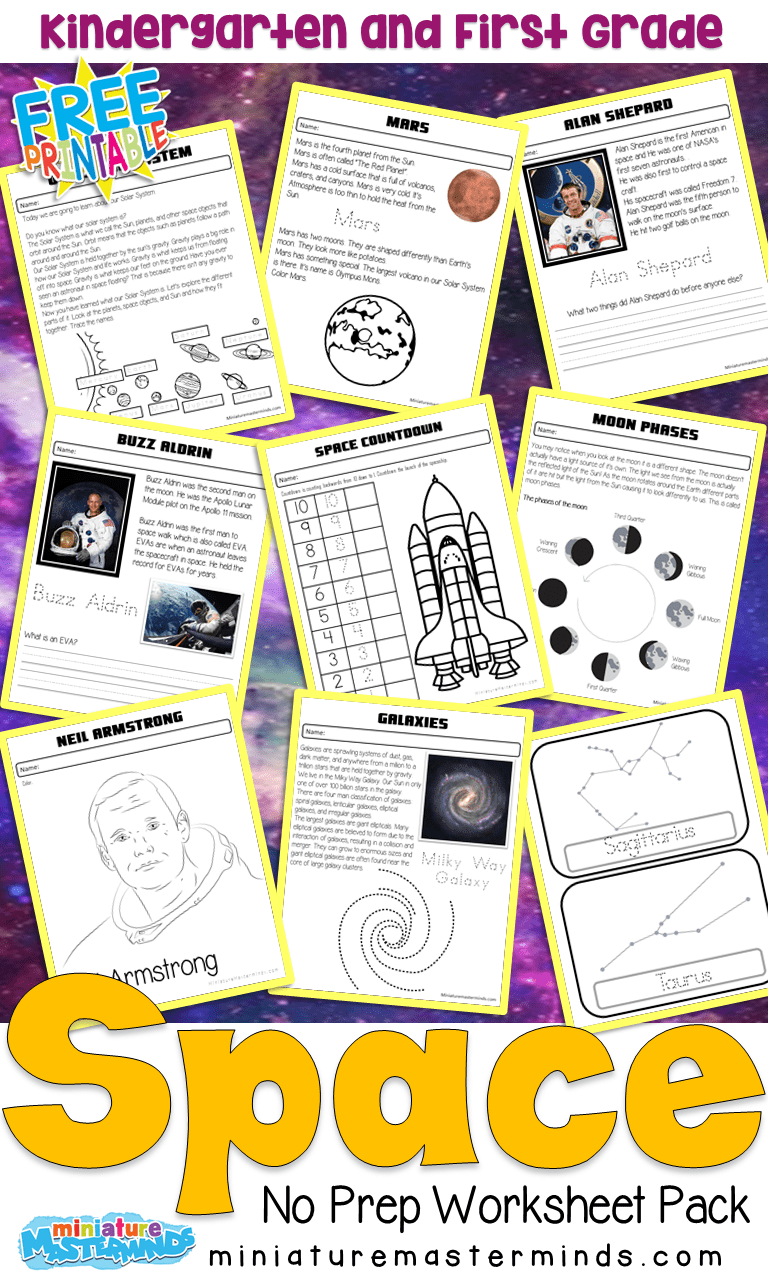 medium resolution of Space Kindergarten and First Grade No Prep Work Book – Miniature Masterminds