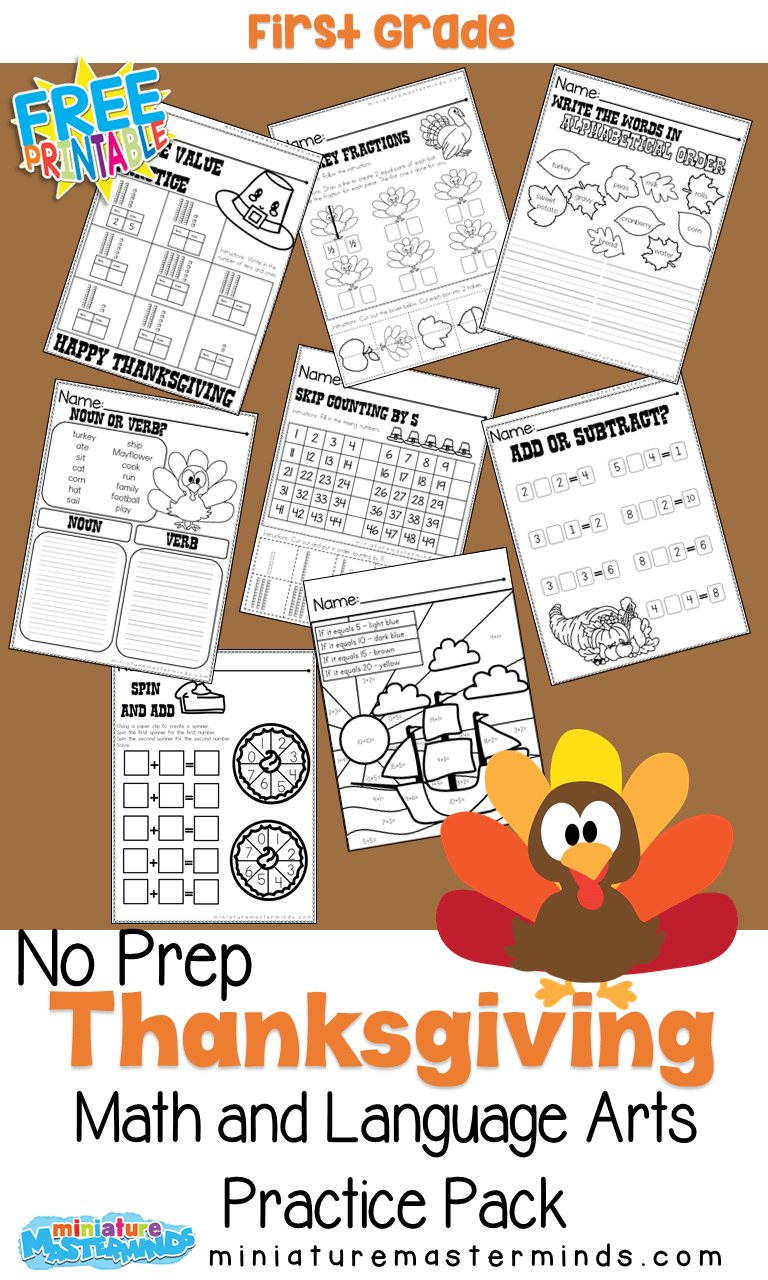 medium resolution of First Grade Thanksgiving No Prep Math and Language Arts Practice Pack –  Miniature Masterminds