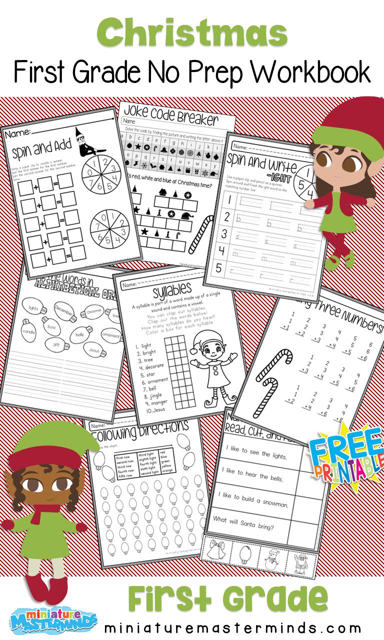 medium resolution of No Prep Christmas First Grade Work Book – Miniature Masterminds