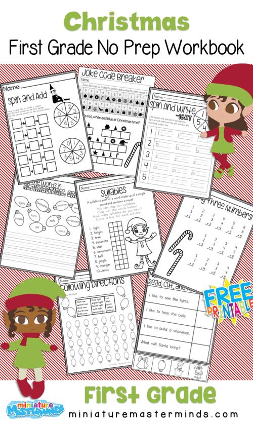 small resolution of No Prep Christmas First Grade Work Book – Miniature Masterminds
