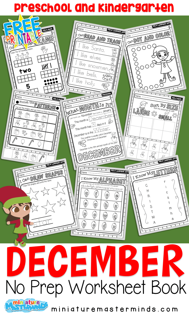 hight resolution of December No Prep Preschool Pack Christmas Themed Worksheets and Activities  – Miniature Masterminds