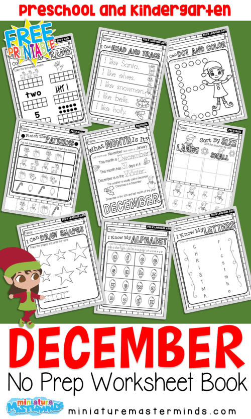 small resolution of December No Prep Preschool Pack Christmas Themed Worksheets and Activities  – Miniature Masterminds