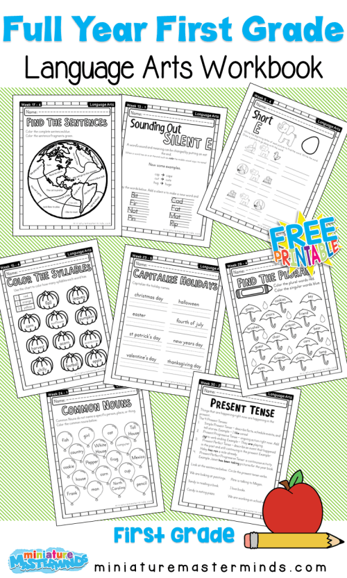 small resolution of First Grade Language Arts Full Year Work Book – Miniature Masterminds
