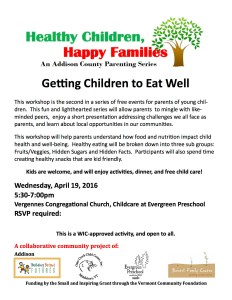 Getting Children to Eat Well: Healthy Children, Happy Families @ Vergennes Congregational Church
