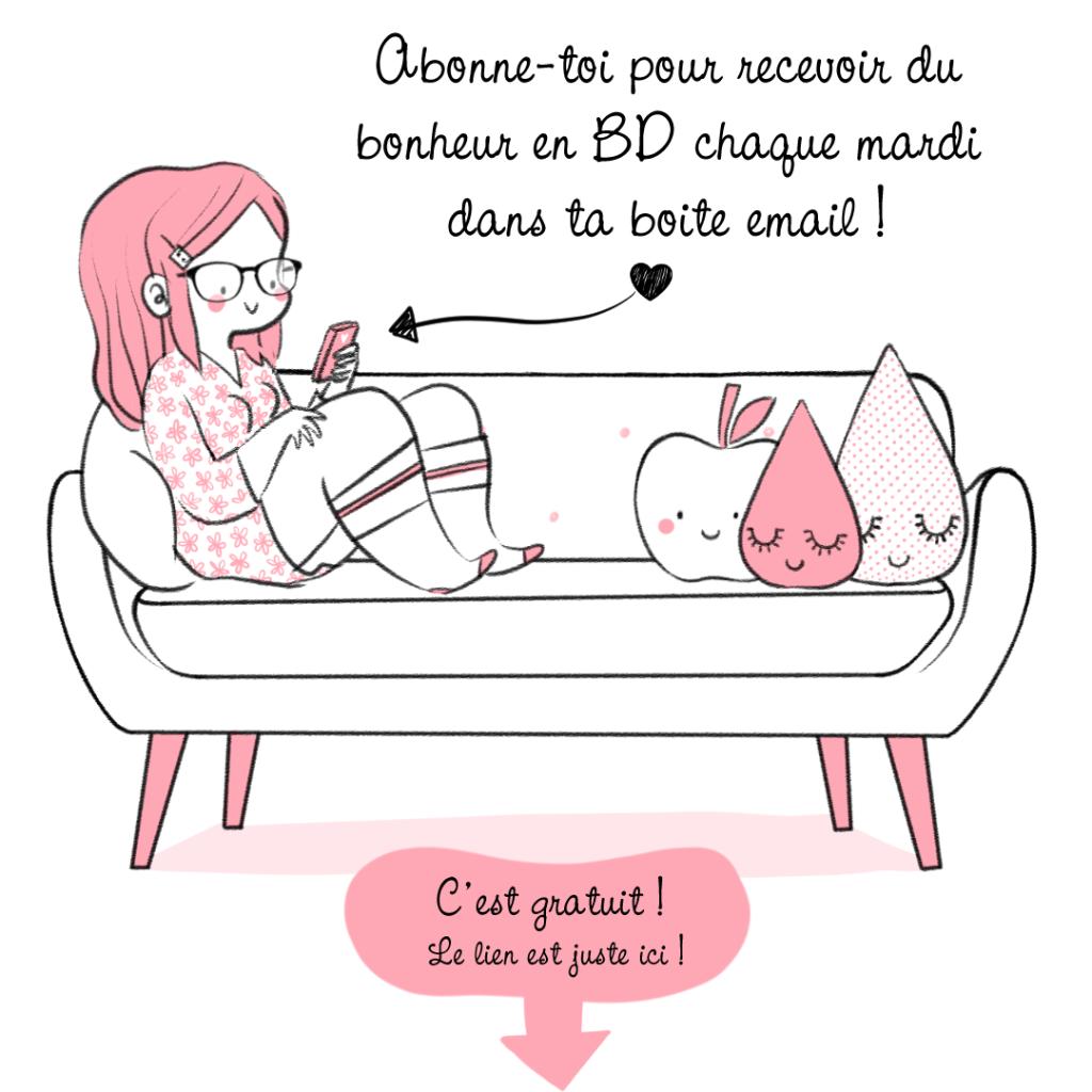 MiniKim dessine du bonheur adorable abonnement newsletter BD Webtoon comic en ligne Bande dessinée Art dessin bonheur tranche de vie