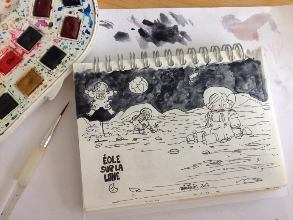 Eole sur la lune vivre sur la lune base lunaire installé sur la lune