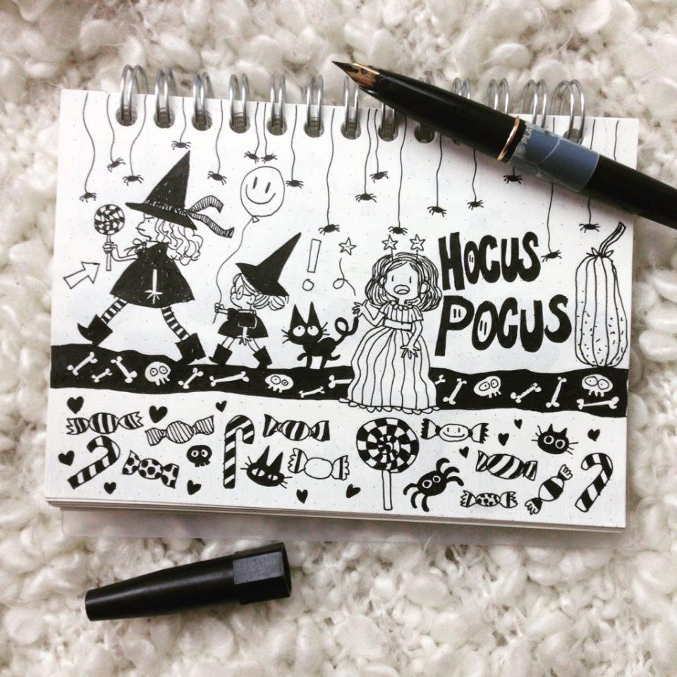 Sorcières hocus pocus dessin cute drawing kawaii dessin mignon os squeettes halloween carnet de croquis
