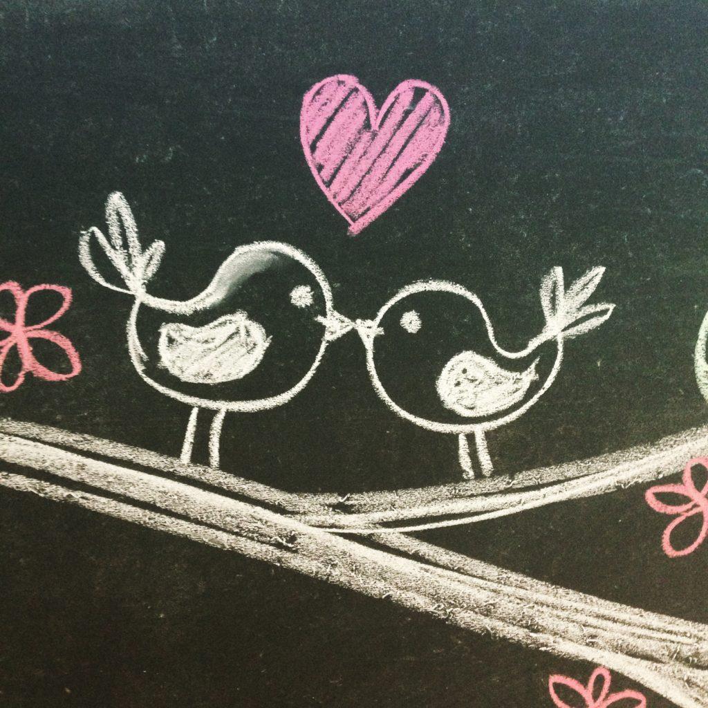 Oiseaux doodles à la craie sur tableau noir tableau d'école écolier dessin craie de couleurs
