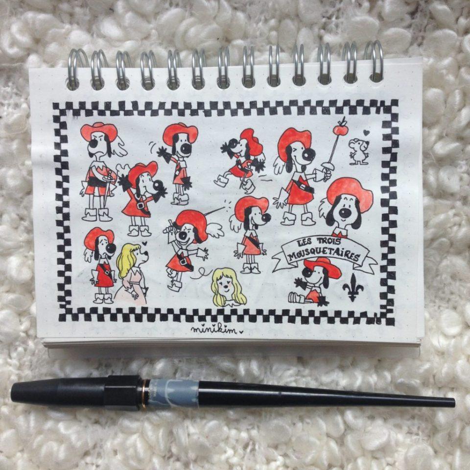 Les trois mousquetaires, un pour tous et tous pour un, dessin animés les 3 mousquetaires, d'Artagnan, Dessin animé, Dessin animé 80, années 80, souvenirs, nostalgie, d'Artagnan chien, fan art, carnet, carbon ink pen, aquarelle, lefranc et bourgeois, dessin traditionnel, carnet Muji, Platinum, encre noire, cape, épée