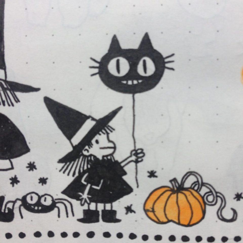 Sorcière, MiniKim, Auteur de BD, Illustrateur, Montréal, Bédéiste, Petite sorcière, chat noir, doodle, croquis, carnet, mignon, cute, dessin kawaii, citrouille, chaudron, fantôme